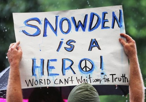 Activists in New York In Support Of NSA Whistleblower Edward Snowden